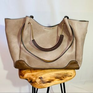 Handbags - Vegan Leather Tote Bag with dual handles